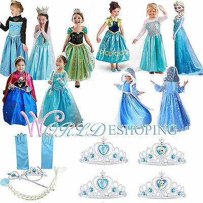Frozen Princess Elsa & Anna Costume Party Dress Up Crown Wand Wig Girls Cosplay