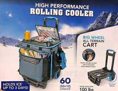 Collapsible Rolling Trolley Cooler Bag Cart Fits 50 Cans +10 Ice Picnic Lunchbox