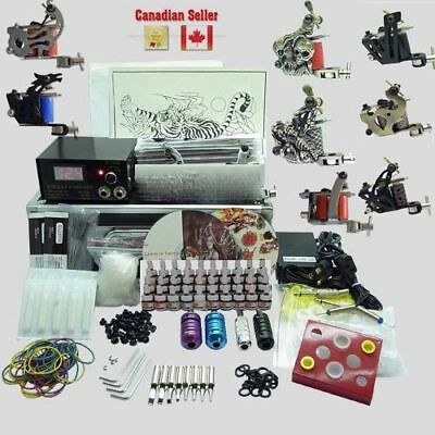 Complete Tattoo Kit 8 Top Machine Gun Power Supply 40 Color Ink 50 Needle