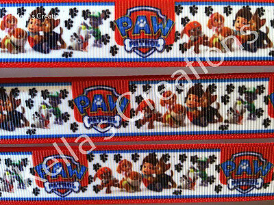 """Paw Patrol character ribbon 7/8"""" sold by 2 M - Craft - Cake - Dummy clip"""