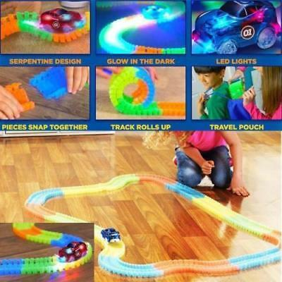Glowing Dark Assembly Racing Set for Kids New Magic Tracks Bend Flex  Free car