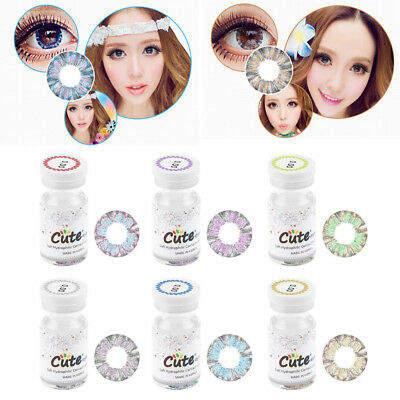 Lady Women Cosmetic Contact Lenses Circle Big Eyes Makeup Beauty Yearly Use