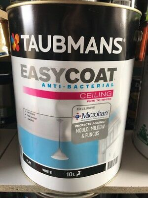 Taubmans Easy Coat Anti Bacterial Pink To White Ceiling Flat White Paint WB 10L