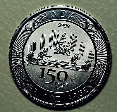1 oz 2017 Canadian 150th Special Edition Voyageur Silver Coin