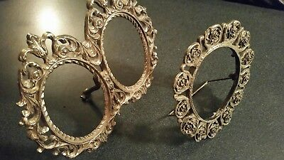Vintage Small Miniature Ornate Picture Frames -1 double - 1 single