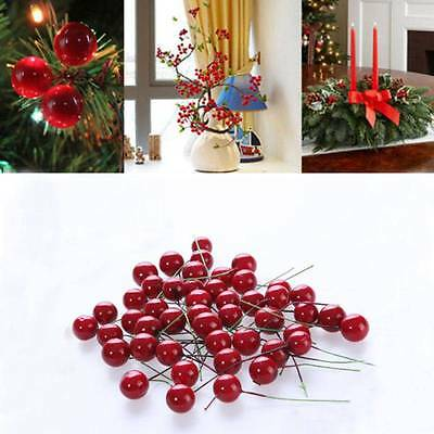 100x Christmas Fruit Berry Holly Artificial Flower Pick Home Decor DIY Chic