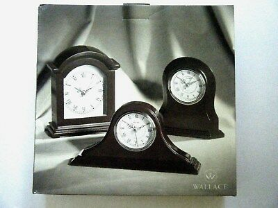 Wallace Silversmiths Wood Clocks Napoleon, Mantle & Round Shelf Desk Top Clocks