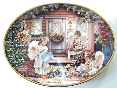 """Bradford Exchange  Angels """"all Things Grow With Love"""" Collector's Plate W/coa"""