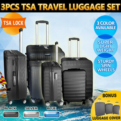 3pc Luggage Suitcase Trolley Set TSA Lock Carry On Bag Hard Case Lightweight ABS