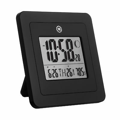 MARATHON CL030049BK Digital Wall Clock with Day Date Week Number Temperature ...