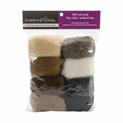 Dimensions Crafts 72-74004 Earth Tone Wool Roving for Needle Felting 8-Pack