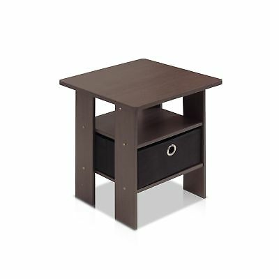 Furinno 11157 End Table Bedroom Night Stand with Bin Drawer Dark Brown/Black