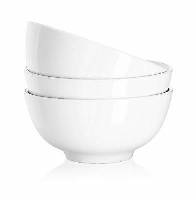 DOWAN 29 Ounce Porcelain Soup Bowls - 3 Packs Stackable Round White 7.0-inch