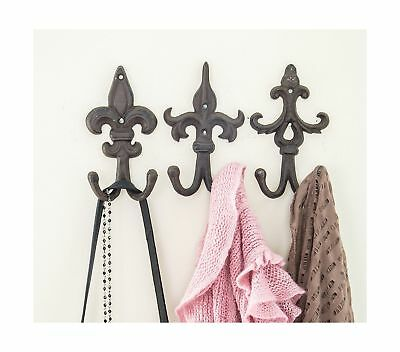 SET OF 3 - Cast Iron Fleur De Lis Double Wall Hooks / Hangers - Decorative Wa...