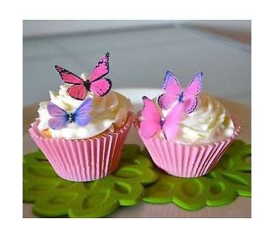 Edible Butterflies  - Small Assorted Pink and Purple Set of 24 - Cake and Cup...