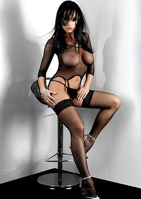 Sexy Fishnet suspender bodysuit stockings combo (003)