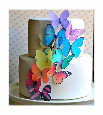 Edible Butterflies  -Large Rainbow Variety Set of 12 - Cake and Cupcake Toppe...
