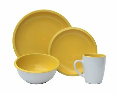 Melange 32 Piece Contempo Cantina 2-Tone Stoneware Dinner Set Place Setting S...