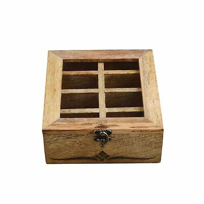 Rusticity Wooden Tea Box / Spice Organizer with Transparent Lid - 8 Slots | H...
