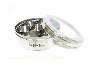 Ckitze Tabakh Stainless Steel Masala Dabba/Spice Container Box with 7 Spoons ...