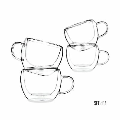 Universe Double Wall Glass Tea & Coffee Espresso Cups Glasses Set of 4 - 230m...
