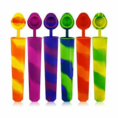 Silicone Ice Pop Molds Set of 6 maxin Mold Colored Rainbow Swirl Ice Popsicle...