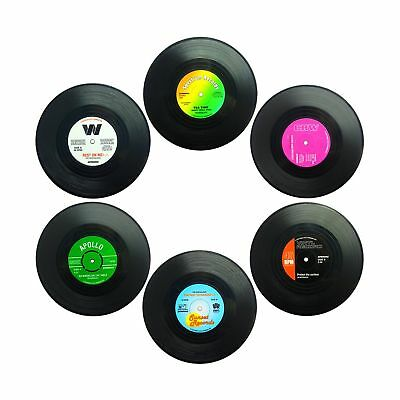 Set of 6 Coasters SENHAI Retro Vinyl Record Mats Placemats for Cold Hot Drink...