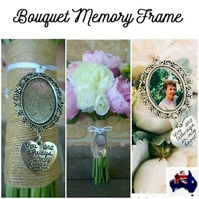 Bouquet Memory Frame Charm Photo Bride Wedding Flower Silver Oval Gift AUS SELER