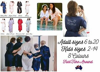 Bridal Robe Satin Silk Dressing Gown Wedding Bridesmaid Gift Adult Kids 2-20