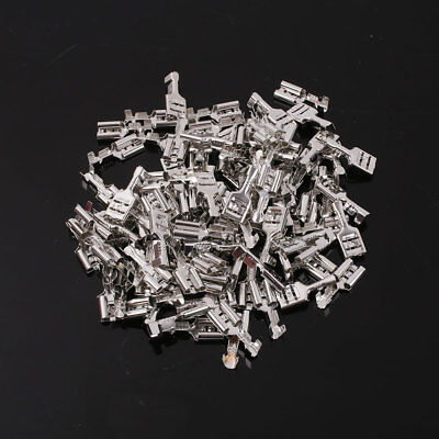 100Pcs Silver Terminal Crimp w/Case Female Spade Quick Connector For Chain Wires