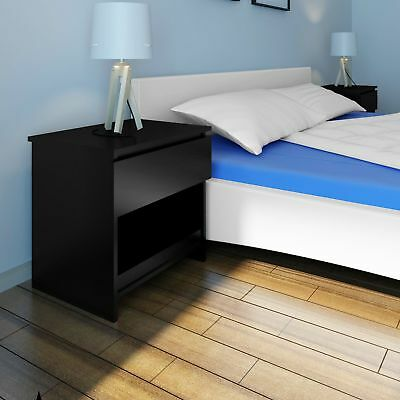 # New 2 pcs Chic Beside Table Cabinet Chest One Drawer Bedroom Nightstand Black
