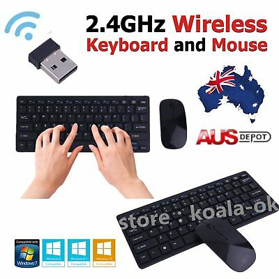 Black 2.4GHz Cordless Wireless Keyboard and Optical Mouse USB Receiver Set MN