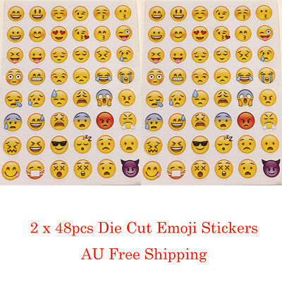 New 48pcs Large Emoji Stickers Die Cut iPhone Smile Kids Reward Party AU Stock
