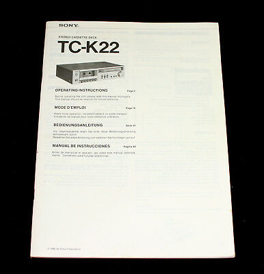 SONY TC-K22 Stereo Cassette Deck Operating Instructions