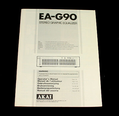 AKAI EA-G90 Stereo Graphic Equalizer Operator's Manual