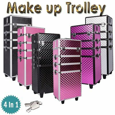 4 IN 1 Rolling Makeup Case Cosmetic Box Multifunction Wheeled Trolley Organizer