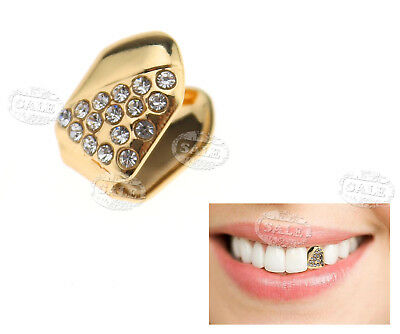 24K Gold Plated Single Tooth Grill Cap Diamante Teeth Hip Hop Halloween Party