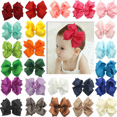 "25Pcs Boutique Girls Kids Children 4"" Grosgrain Ribbon Hair Bows Alligator Clips"