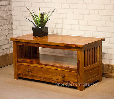 SOLID SHEESHAM INDIAN JALI COFFEE TABLE TV CABINET WITH DRAWER 90cm Wd IBF-015A