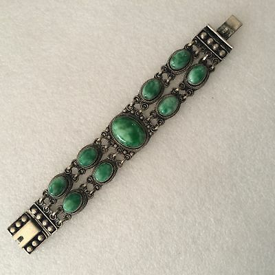 antique Chinese ancient Tibetan silver inlaid with turquoise bracelet