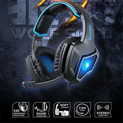 For PS4 Xbox PC Xboxone SS Wired Pro Gaming Stereo Bass Headset Headphones w/Mic