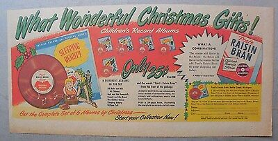 Post Cereal Ad: Children's Record Albums ! 1940's-1950's 7 x 15 inches