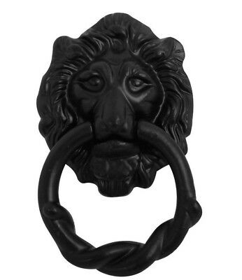 Black Antique Cast Iron Lion Head Door Knocker By Black Country Foundry - 159 mm