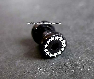 4mm Black Tunnel with white Stars and Screw fit back - Tunnels & Plugs