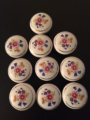 Ceramic Kitchen Cabinet Door/Drawer Knobs Cupboard Pull Handle Set Of 10
