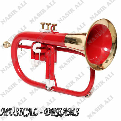 PRO FLUGEL HORN 3 VALVE Bb PITCH RED COLORED + BRASS WITH CASE AND MP
