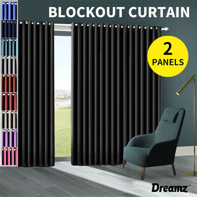2X Blockout Curtains Panels Blackout 3 Layers Eyelet Room Darkening Pure Fabric