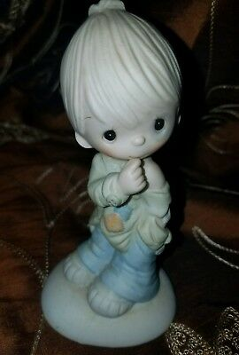 "Precious Moments ""Smile God Loves You"" Little Boy Figurine 1977 Jonathan & David"