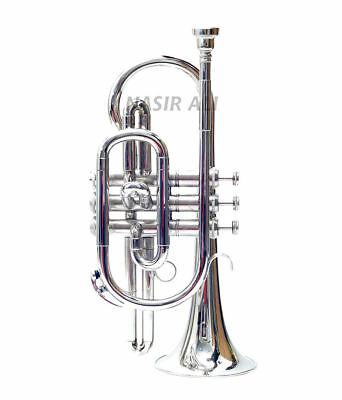 NASIR ALI CORNET NICKEL SILVER Bb PITCH WITH FREE HARD CASE AND MP