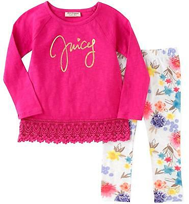 JUICY COUTURE baby girl 2 pc LS lace trim TUNIC & floral LEGGING SET 12/18M BNWT